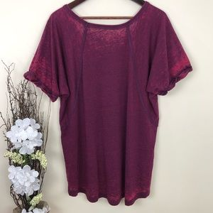 Free People Tops - Free People Free Fallin Tee - Burgundy Top